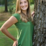 Bright green HS Senior girl